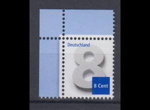 Bund 3188 Eckrand links oben 8 Cent Ergänzungswert postfrisch