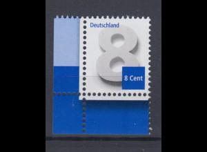 Bund 3188 Eckrand links unten Ergänzungswert 8 Cent postfrisch