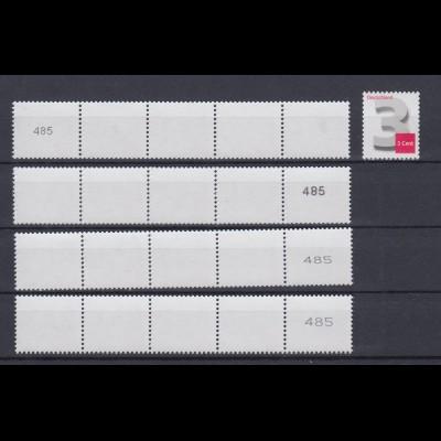 Bund 2964 3-Cent 4x 5er Streifen verschiedene Nummertypen ungerade Nr. 485 **