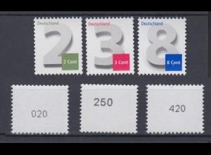 Bund 2964 3042 3188 RM gerade Nummer 2,3,8 Cent Ergänzungswerte postfrisch
