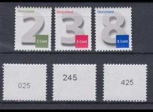Bund 2964 3042 3188 RM ungerade Nummer 2,3,8 Cent Ergänzungswerte postfrisch