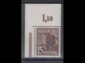 Berlin 6P Schwarzaufdruck Plattendruck ndgz Eckrand links oben 15 Pf ** /2