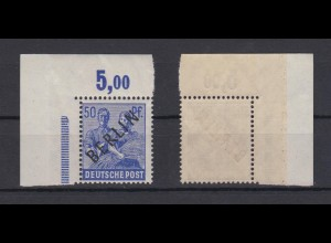 Berlin 13P Schwarzaufdruck Plattendruck ndgz Eckrand links oben 50 Pf postfrisch