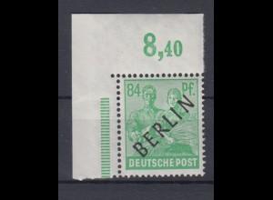 Berlin 16P Schwarzaufdruck Plattendruck ndgz Eckrand links oben 84 Pf ** /2