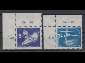 DDR 246-247 Eckrand li. oben 1. Wintersportmeisterschaft der DDR 12 Pf/ 24 Pf **