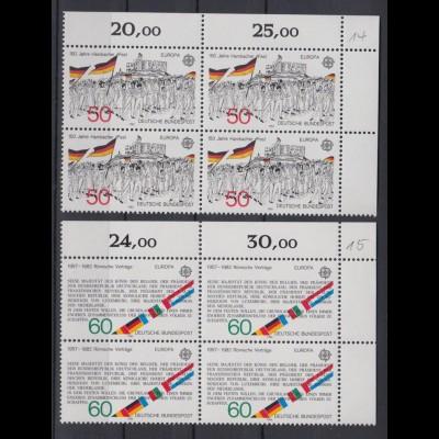 Bund 1130-1131 Eckrand rechts oben 4er Block Historische Ereignisse 50+ 60 Pf **