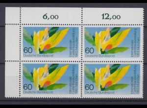 Bund 1174 Eckrand links oben 4er Block Gartenbau Ausstellung München 60 Pf **