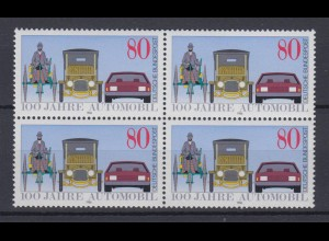 Bund 1268 4er Block 100 Jahre Automobil 80 Pf postfrisch