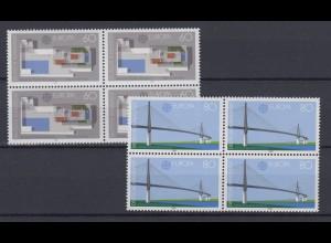 Bund 1321-1322 4er Block Europa Moderne Architektur 60 Pf+80 Pf postfrisch