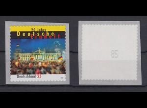 Bund 2822 SB Rollenmarke mit ungerader Nr. 20 Jahre Deutsche Einheit 55 C **