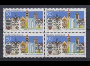 Bund 1271 II mit Plattenfehler 4er Bl. 1250 Jahre Bad Hersfeld 60 Pf postfrisch