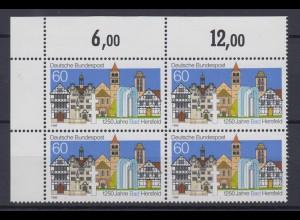 Bund 1271 V mit Plattenfehler Eckrand 4er Block 1250 Jahre Bad Hersfeld 60 Pf **