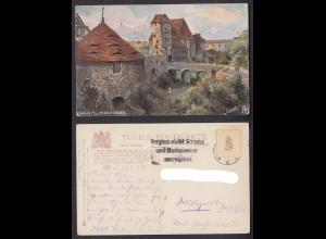 Ansichtskarte Halle Moritzburg mit Stempel Vergiss nicht Strasse und Hausnummer