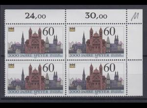 Bund 1444 Eckrand rechts oben 4er Block 2000 Jahre Speyer 1990 60 Pf postfrisch