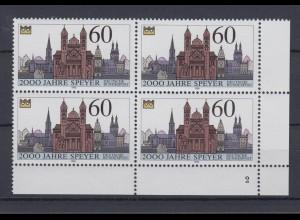 Bund 1444 Eckrand rechts oben 4er Block mit FN 2 Speyer 2000 Jahre 1990 60 Pf **