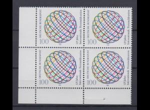 Bund 1464 Eckrand links unten 4er Block 125 Jahre Fernmeldeunion 100 Pf **
