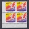 Bund 1495 4er Block Eckrand links unten Tourismusbörse Berlin 100 Pf postfrisch