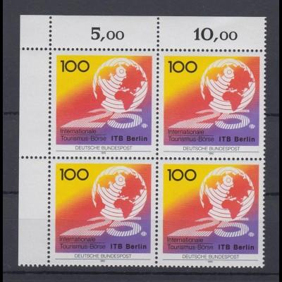 Bund 1495 4er Block Eckrand links oben Tourismusbörse Berlin 100 Pf postfrisch