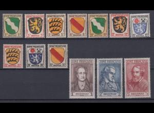 All. Besetzung Französische Zone 1-13 Wappen der Länder und deutsche Dichter **