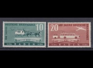 All. Besetzung Franz. Zone Baden 54-55 100 Jahre dt. Briefmarken 10 + 20 Pf **