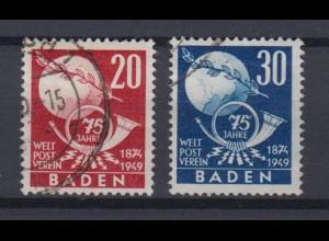 All. Besetzung Franz. Zone Baden 56-57 75 J. Weltpostverein 20 + 30Pf gestempelt
