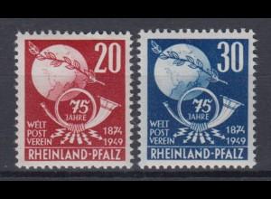 All. Besetzung Franz. Zone Rheinland Pfalz 51-52 75 Jahre Weltpostverein **