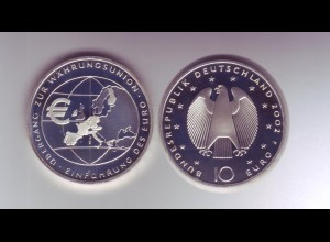 Silbermünze 10 Euro 2002 Währungsunion spiegelglanz