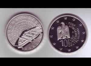 Silbermünze 10 Euro 2002 Museumsinsel spiegelglanz