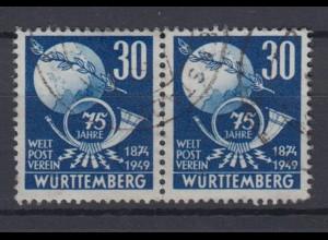 All. Besetz. Franz. Zone Württemberg 52 75 Jahre Weltpostverein 30 Pf gestempelt