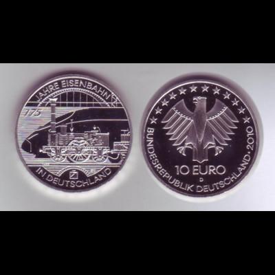 Silbermünze 10 Euro 2010 175 Jahre Eisenbahn spiegelglanz