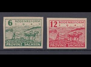 All. Besetzung Sowjetische Zone Ost Sachsen 85-86 Bodenreform 6 Pf + 12 Pf **
