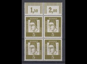 Bund 347y mit Oberrand 4er Block Bedeutende Deutsche 5 Pf postfrisch