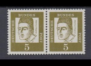 Bund 347y 4er Block waagerechtes Paar Bedeutende Deutsche 5 Pf postfrisch