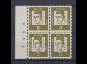 Bund 347y 4er Block Seitenrand mit Bogennummer Bedeutende Deutsche 5 Pf **