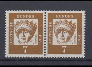 Bund 348y waagerechtes Paar Bedeutende Deutsche 7 Pf postfrisch