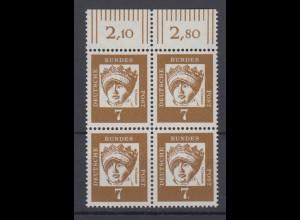 Bund 348y mit Oberrand 4er Block Bedeutende Deutsche 7 Pf postfrisch