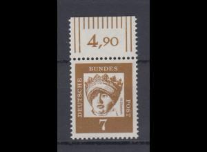 Bund 348y mit Oberrand Bedeutende Deutsche 7 Pf postfrisch