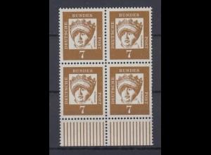 Bund 348y 4er Block mit Unterrand Bedeutende Deutsche 7 Pf postfrisch