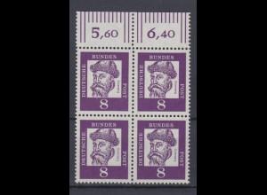 Bund 349y mit Oberrand 4er Block Bedeutende Deutsche 8 Pf postfrisch