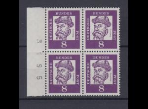 Bund 349y 4er Block mit Seitenrand und Bogennummer Bedeutende Deutsche 8 Pf **
