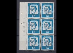 Bund 351y 6er Block mit Seitenrand und Bogennummer Bedeutende Deutsche 15 Pf **