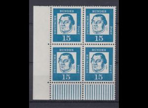 Bund 351y 4er Block Eckrand links unten Bedeutende Deutsche 15 Pf postfrisch