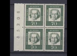 Bund 358y b Seitenrand 4er Block mit Bogennummer Bedeutende Deutsche 70 Pf **
