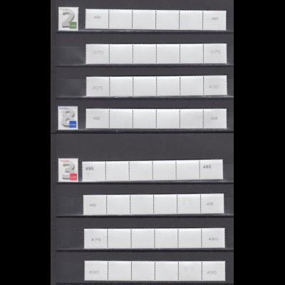 Bund 2964 3042 3188 8 x 6er Streifen verschiedene Nummernvarianten **