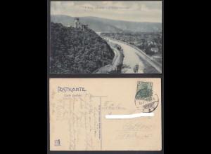 Ansichtskarte Burg Lahneck und Niederlahnstein gestempelt 1914