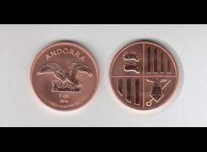 Kupfermünze 1 OZ Andorra 1 ct. Kupfer 2014