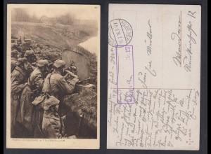 Ansichtskarte Soldatenkarte I. WK Maschinengewehre in Feuerstellung