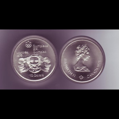 Silbermünze Kanada 10 Dollars Olympiade Montreal 1976 Zeuss/Olympische Fackel