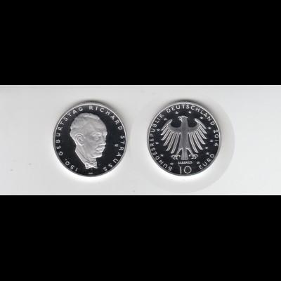 Silbermünze 10 Euro 2014 150. Geburtstag Richard Strauss spiegelglanz