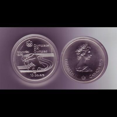 Silbermünze Kanada 10 Dollars Olympiade Montreal 1976 Einer Kanadier Stgl.
